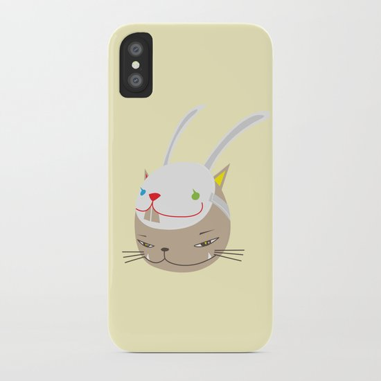 CAT WITH RABBITZ MASK iPhone Case