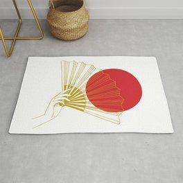 Japan Flag Retro Red Gold Vintage Minimalist Geometric Hand Fan Rug