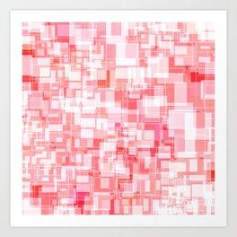 Pink Square Patterns Design Art Print