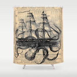 Octopus Kraken attacking Ship Antique Almanac Paper Duschvorhang