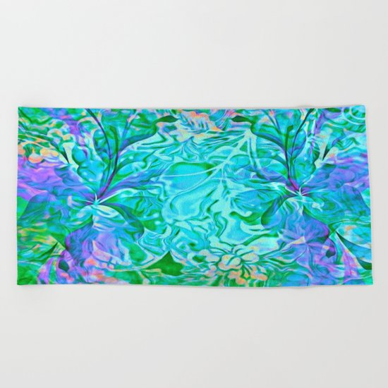 Tropical Breeze Floral Abstract Beach Towel