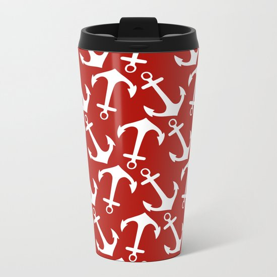 Maritime Nautical Red and White Anchor Pattern - Anchors on #Society6 Metal Travel Mug