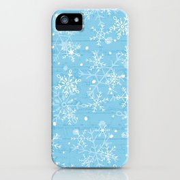Snowflakes on Blue Wood iPhone Case