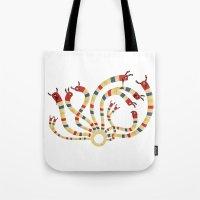 hydra Tote Bags featuring LERNAEAN HYDRA by Villie Karabatzia