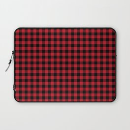 Winter red and black plaid christmas gifts minimal pattern plaids checked Laptop Sleeve