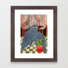 Bird with cactus Framed Art Print