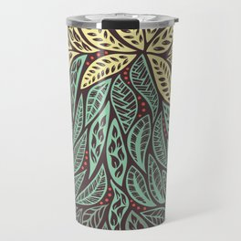Polynesian Tribal Tattoo Green and Yellow Floral Retro Design Travel Mug
