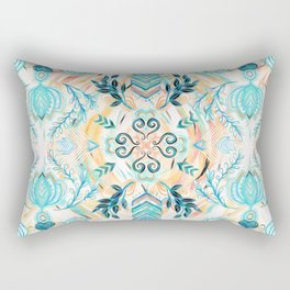 Abstract Painted Boho Pattern in Cyan & Teal Rectangular Pillow