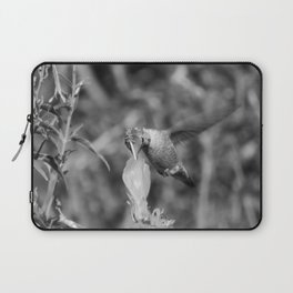 Hummingbird and the Flower- Black and White Laptop Sleeve