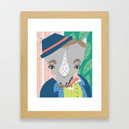 A Very Dapper Rhino Print Framed Art Print