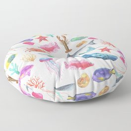 Marine Life, Colorful Ocean Life Fish and Whales in watercolor from Peppermint Creek Floor Pillow