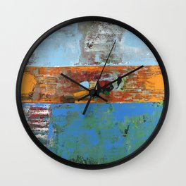 Alligator Blue Orange Modern Abstract Contemporary Art Wall Clock