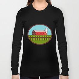 Farm Barn House Silo Oval Retro Long Sleeve T-shirt