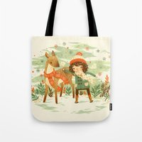 Tote Bags featuring A Wobbly Pair by Teagan White