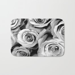 Black and White Roses Bath Mat