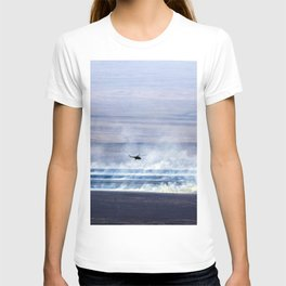 A Russian search and rescue helicopter flies over the burning Kazakh steppe T-shirt