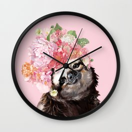 Sloth with Flower Crown Wall Clock