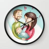family Wall Clocks featuring Family by Arianna Usai