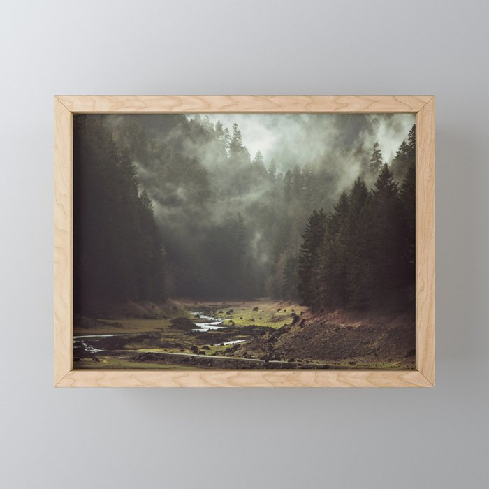 Foggy Forest Creek Framed Mini Art Print
