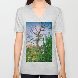 Amongst the Dusty Bluebells Unisex V-Neck
