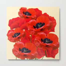 RED ORIENTAL POPPIES ON CREAM COLOR Metal Print