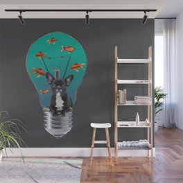 French Bulldog in bulb with goldfishes Wall Mural