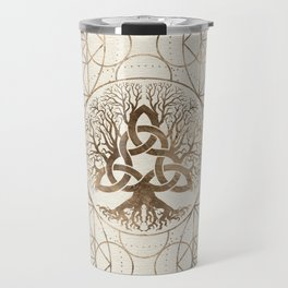 Tree of life -Yggdrasil with Triquetra Pastel gold Travel Mug