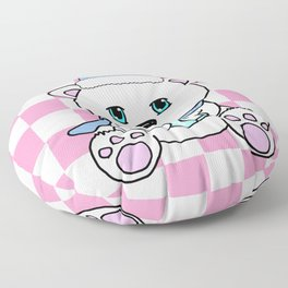Polar Bear Drinking Hot Chocolate Floor Pillow