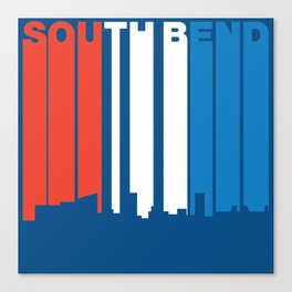 Red White And Blue South Bend Indiana Skyline Canvas Print