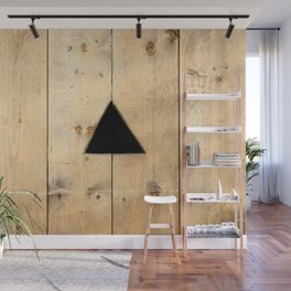 Wooden Planks Wall. Triangle Black Hole. Point Of View Wall Mural
