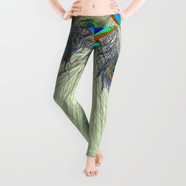 DECORATIVE BLUE GREEN PEACOCK FEATHER & JEWELS #3 PATTERN Leggings