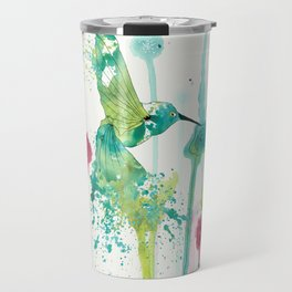 Colibri in a field of flowers Travel Mug