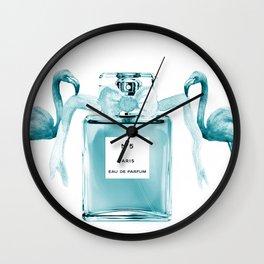 Teal flamingos with perfume Wall Clock