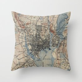 Vintage Map of New Haven Connecticut (1890) Throw Pillow