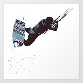 Kite And Surfboard Freestyle Silhouette Vector Art Print