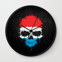 Flag of Luxembourg on a Chaotic Splatter Skull Wall Clock