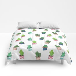 Cacti Abound Watercolor Graphic Print Comforters