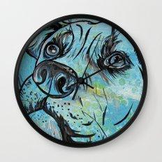 Blue Pit Bull Dog Wall Clock