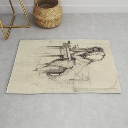 'The Unwinding' Charcoal Drawing Nude woman drinking Wine Rug