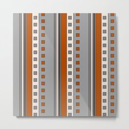 Stripes and Squares in Terracotta and Gray Metal Print
