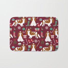 Cavalier King Charles Spaniel blenheim coat christmas pattern dog breed by pet friendly Bath Mat