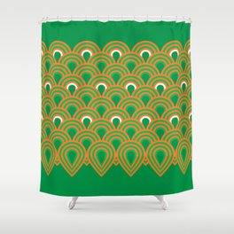 retro sixties inspired fan pattern in green and orange Shower Curtain