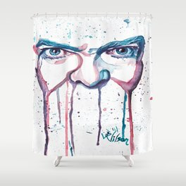 Bowie Watercolor  Shower Curtain