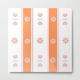 Orange and White Stripe Flower Pattern Metal Print