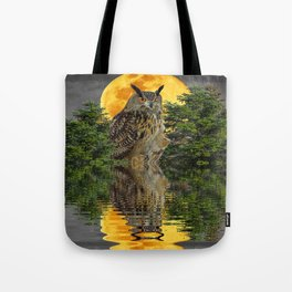 NIGHT OWL  FULL MOON WATER REFLECTION Tote Bag