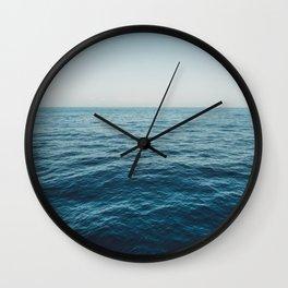 ocean, water, blue sky  -  horizon over water - seascape photography Wall Clock