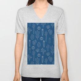 Cactus Silhouette Classic Blue Unisex V-Neck
