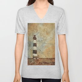 Fine art watercolor painting of Bodie Island lighthouse at sunset in the Outer Banks (OBX) of North Carolina- USA Unisex V-Neck