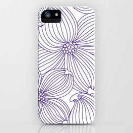 Dogwood Big Linear Floral: Lavander (purple) Ivory iPhone Case