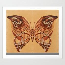 Butterfly Skull Sepia 3 Art Print